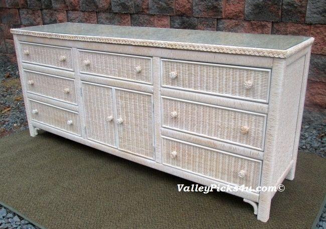 Quality Henry Link Lexington Wicker Dresser Bureau Credenza Flat
