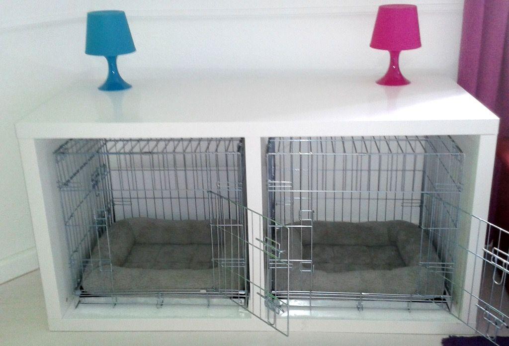 Dog crate system housed in desks | Ikea dog, Diy dog crate, Dog ...