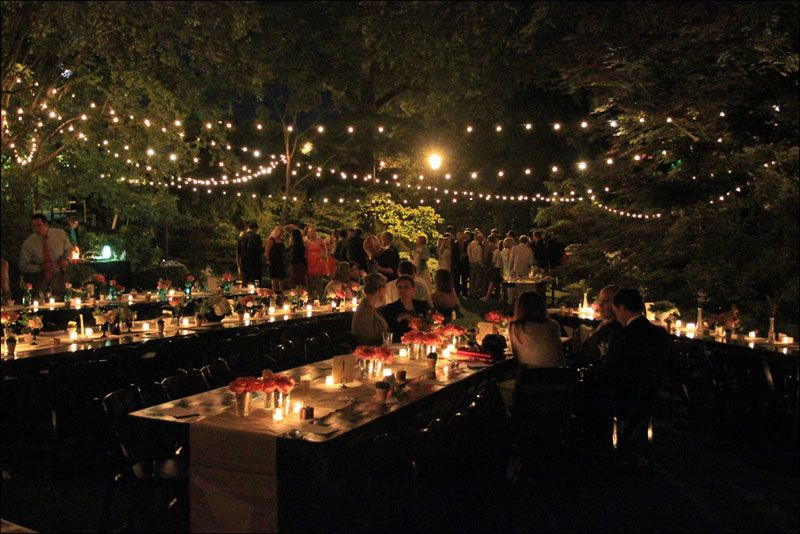 UGA Founders Garden Wedding In Athens GA By Goodwin Events. We Strung Lights  Over Our Farm Tables And Mahogany Folding Chairs.