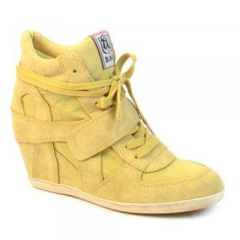 reputable site 57b4b 63029 Ash Bowie Banana Canvas and Suede Wedge Hi-Top Trainers