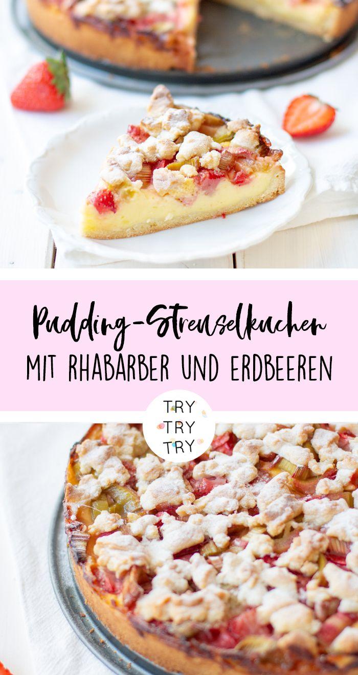 Pudding-Streusel-Kuchen mit Rhabarber und Erdbeeren