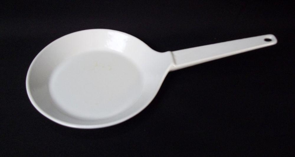 Vtg Copco Cast Iron Enamel Fry Pan White Denmark Michael Lax Enamel Cookware Enamel Cast Iron