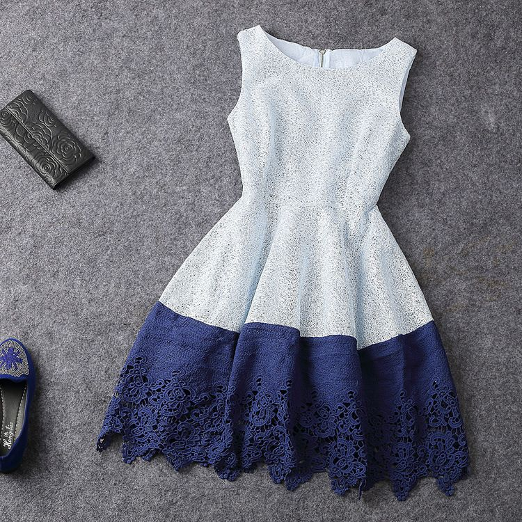 Fashion style hit color sleeveless dress