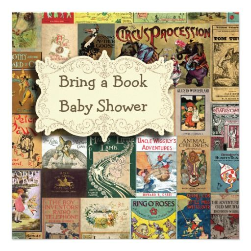 Vintage Books Bring A Book Baby Shower 5.25x5.25 Square Paper Invitation Card