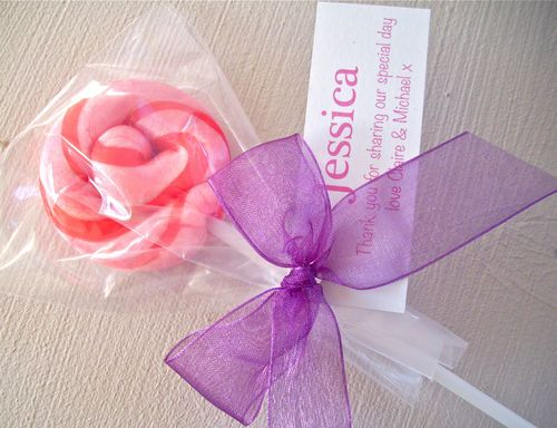 5 Personalised Swirl Lollipops Childrens Wedding Favour Activity Pack Filler