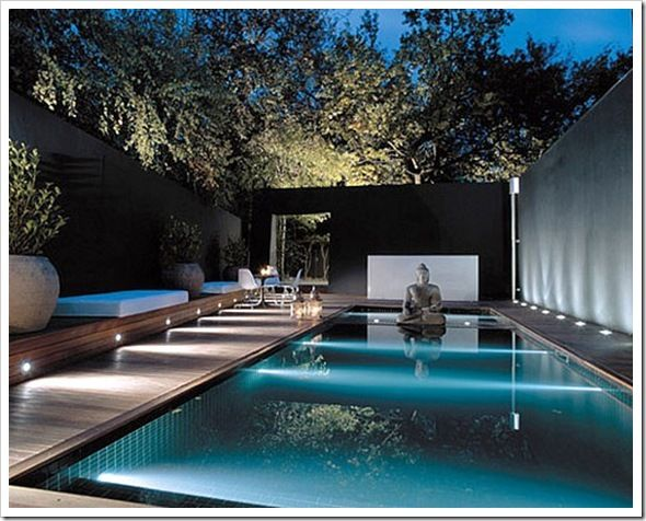 Ool And Landscape With Buddha Feature Nice Accent Lighting Too Pinned To Pool Design By Bask