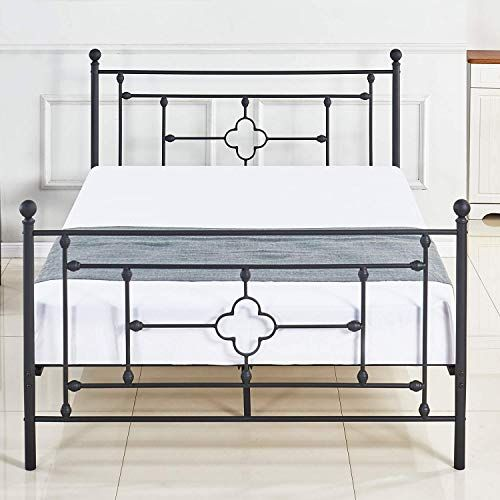 Dikapa Metal Bed Platform Full Size Frame With Headboard No Boxspring Needed Mattress Foundation Box Spring Metal Platform Bed Queen Size Bed Frames Metal Beds