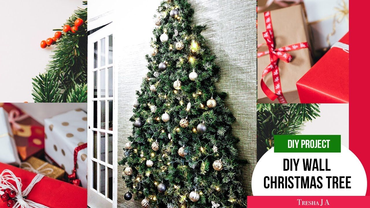 Diy Wall Christmas Tree Holiday Decor Ideas Youtube In 2020 Wall Christmas Tree Holiday Decor Christmas Decor Diy