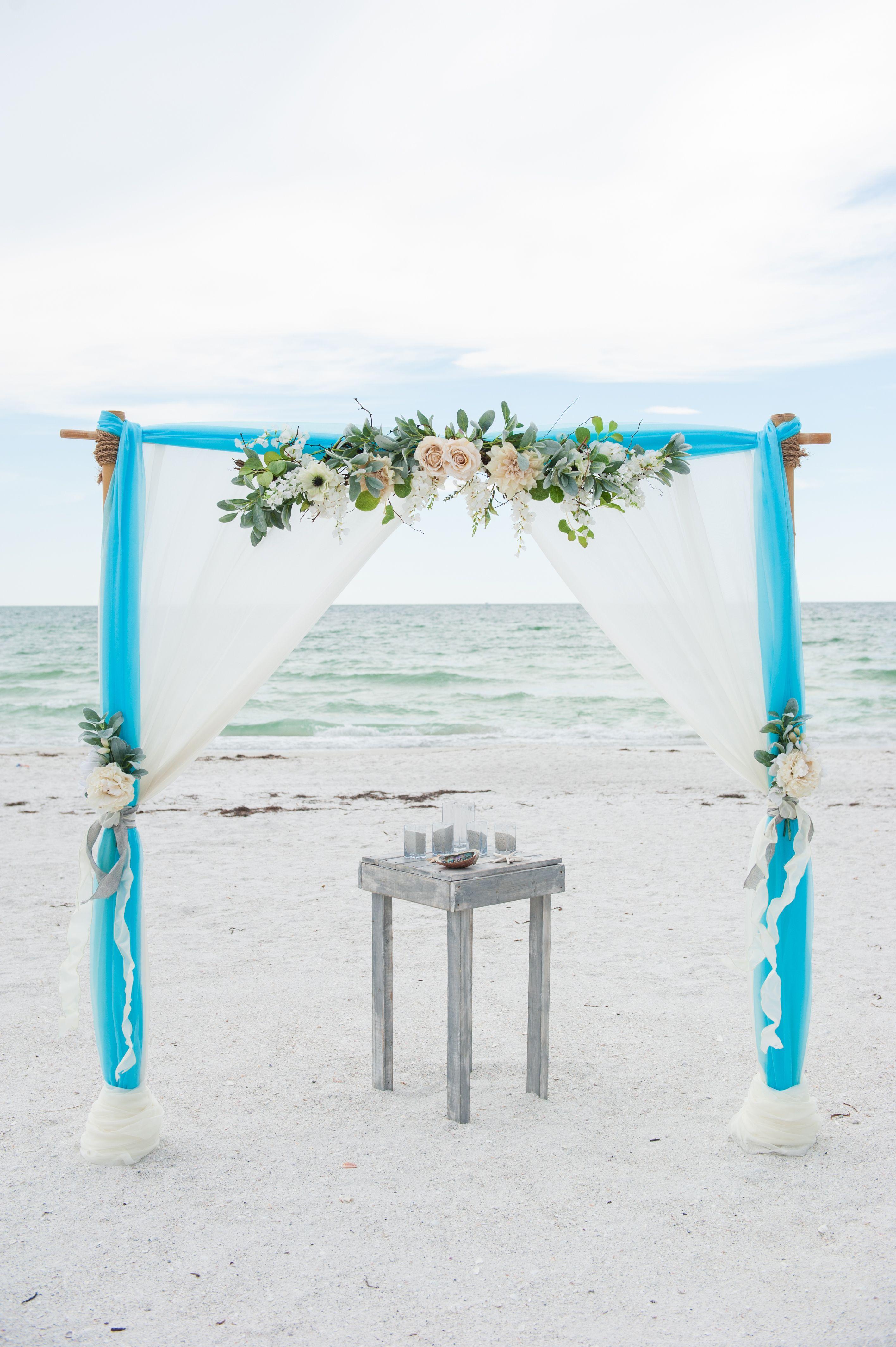 Turquoise and ivory beach wedding arch. | Beach Weddings Arbors ...
