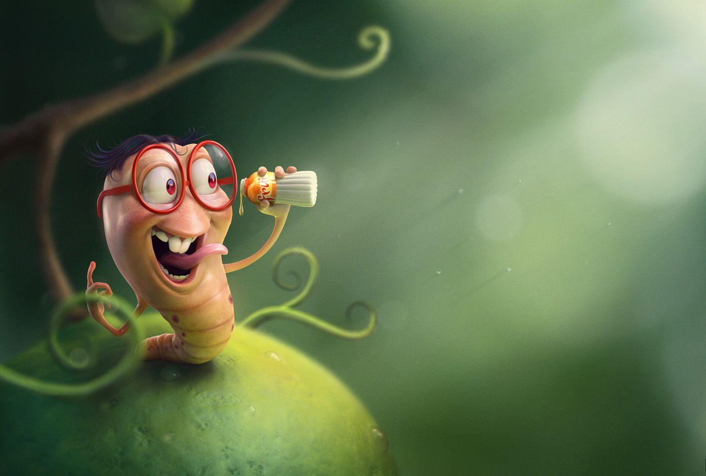 Открытке день, картинки смешные червячки
