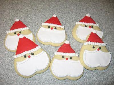 Santa Cookies Using Heart Shaped Cutter Decorated Cookies Santa