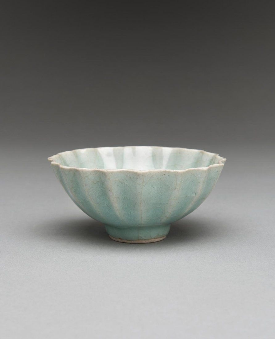 Two Chinese Porcelain Vessels Qing Dynasty A Fine Fluted Bowl With Bluish Green Glaze Together With A Green F Chinese Porcelain Chinese Pottery Qing Dynasty
