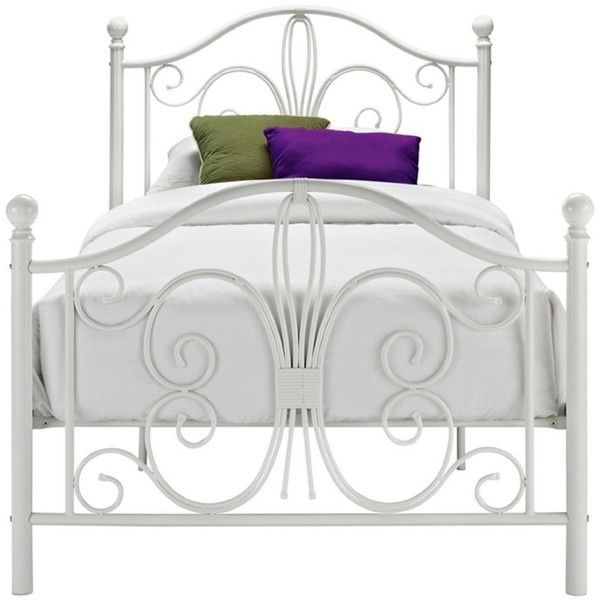 Twin White Metal Platform Bed Frame With Headboard Footboard (3.036 ...