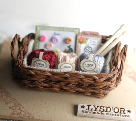 Miniature dolls house accessories Basket of Knitting and wool 1:12th scale