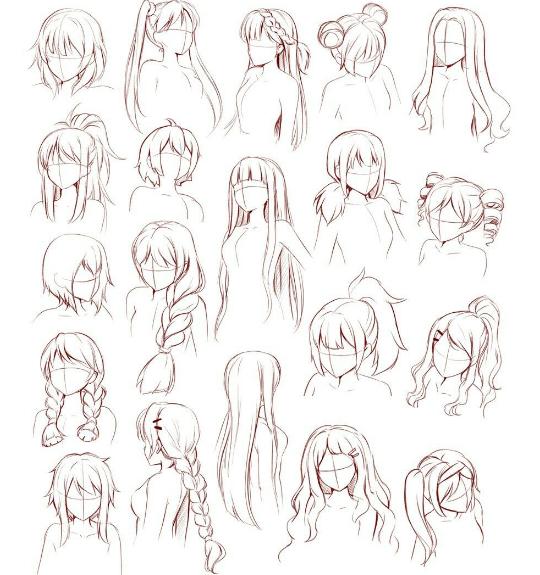 Pin By Ka Anjas On Art How To Draw Anime Hair Manga Hair Sketches