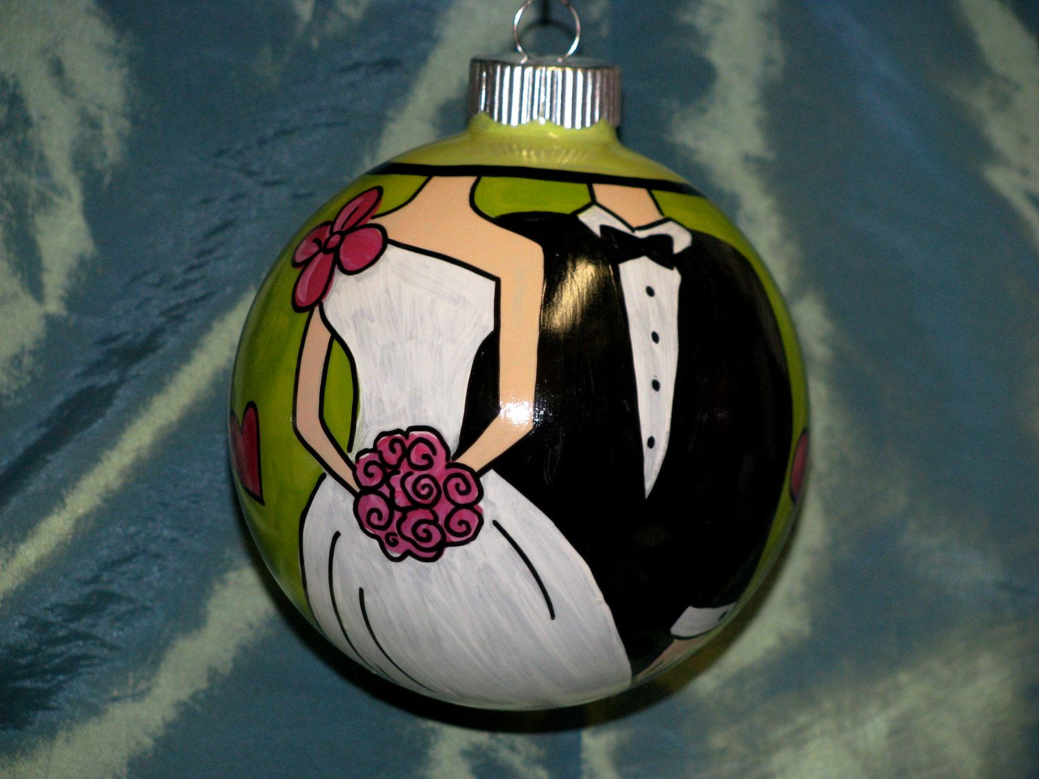 Hand Painted Ornament - Our First Christmas Bride and Groom. $35.00, via Etsy.