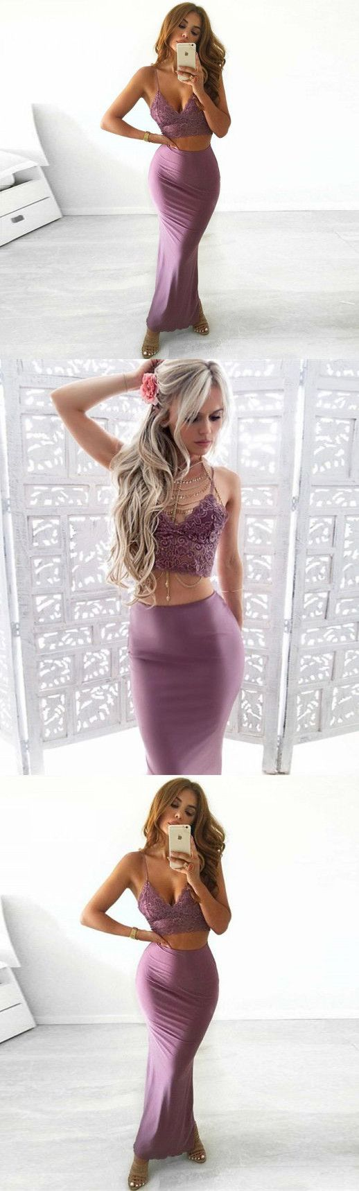 Two piece mermaid spaghetti straps anklelength stretch satin prom
