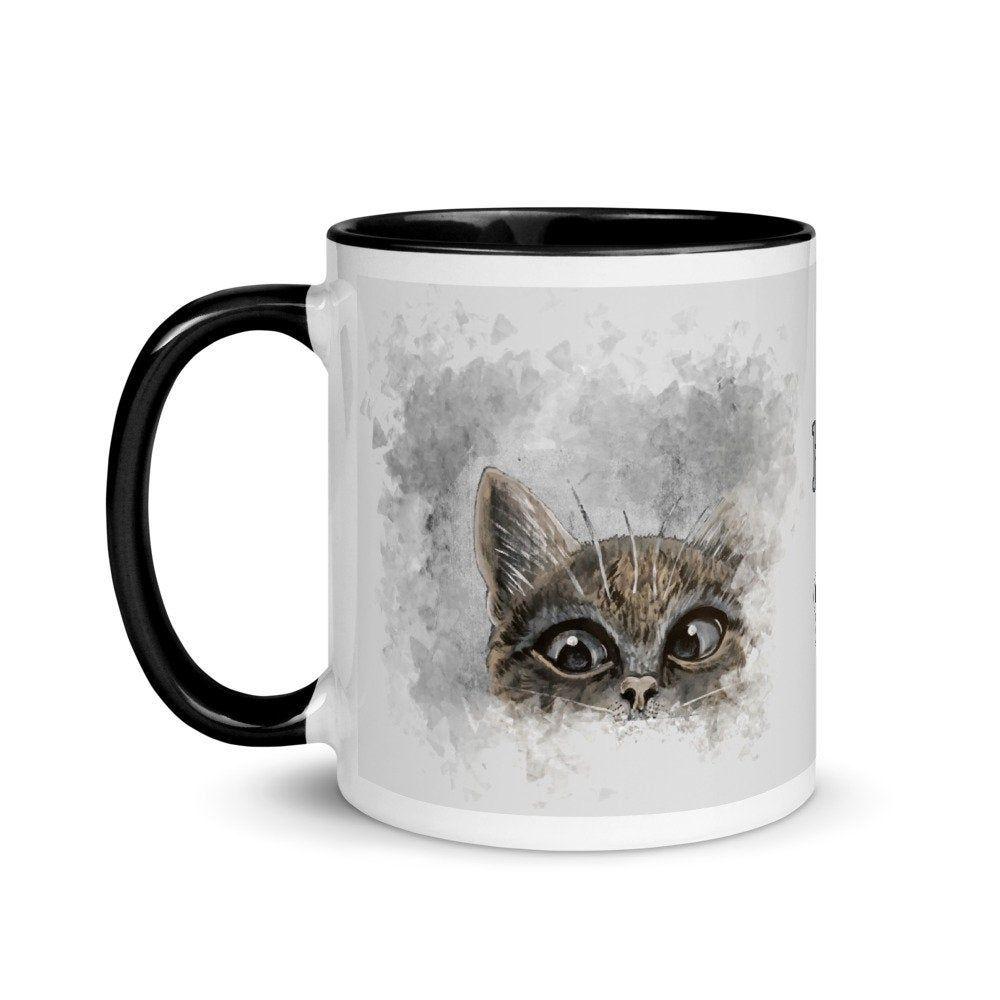 Cat Mug, Gift for Cat Lovers, Painted Cat print Mug Mug via Printful