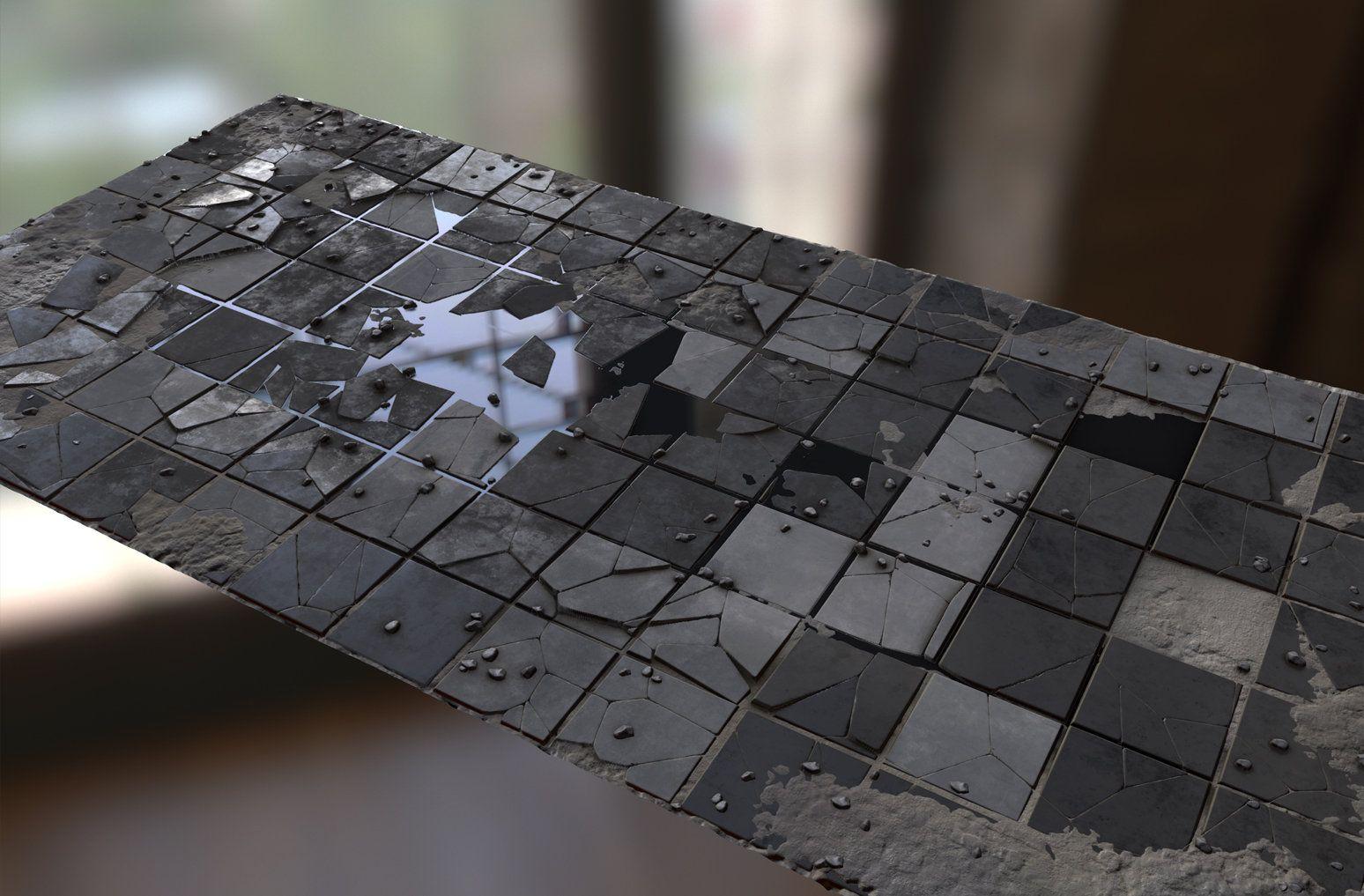 ArtStation broken floor, david garrett Game textures