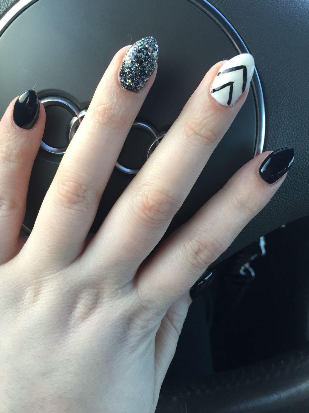 gel almond nails black white silver glitter chevron | nails
