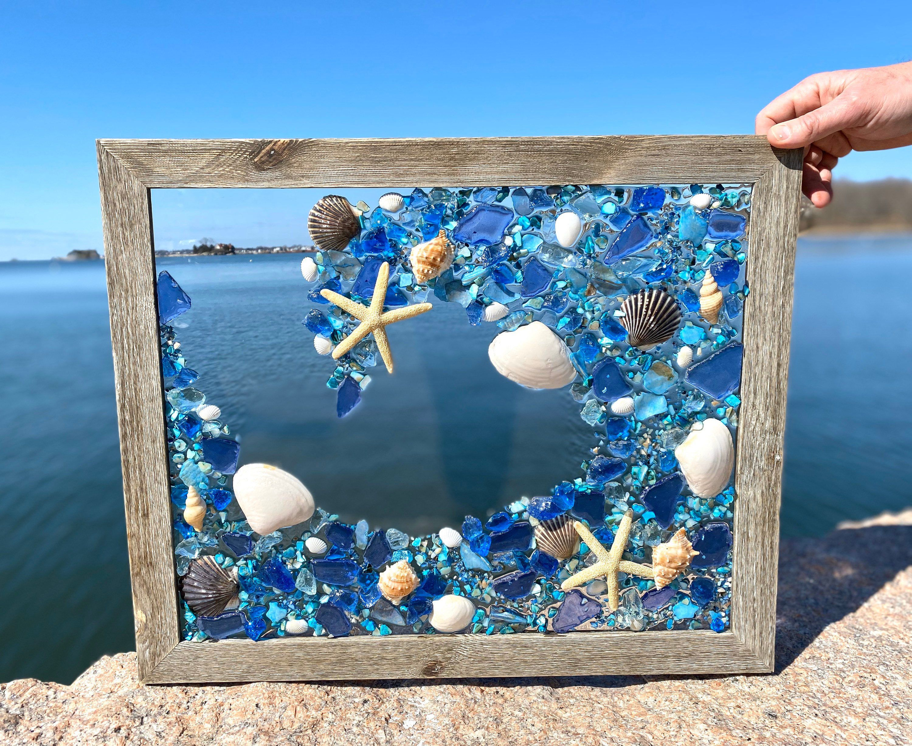 Large 19 x 23 beach glass panel frame with shells free