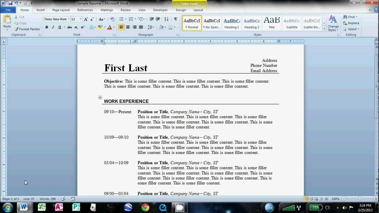 How To Make An Easy Resume In Microsoft Word   Pc Info Photo