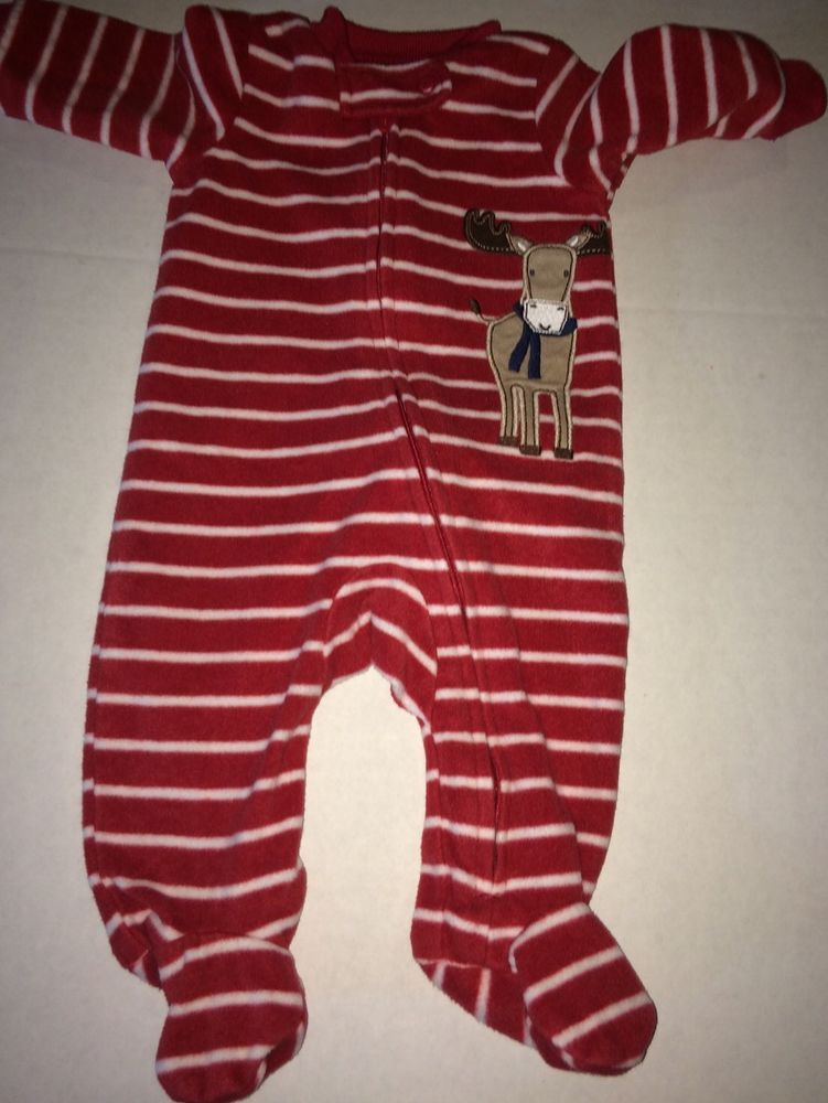 b39002ae26ff Carter s Fleece Footed Sleeper Red White Stripes Reindeer size NB ...