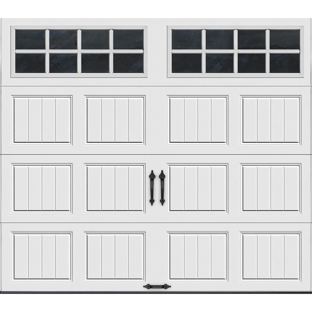 Clopay Gallery Collection 8 Ft X 7 Ft 6 5 R Value Insulated White Garage Door With Sq24 Window Gr1sp Sw Sq24 The Home Depot White Garage Doors Garage Doors Garage Door Design