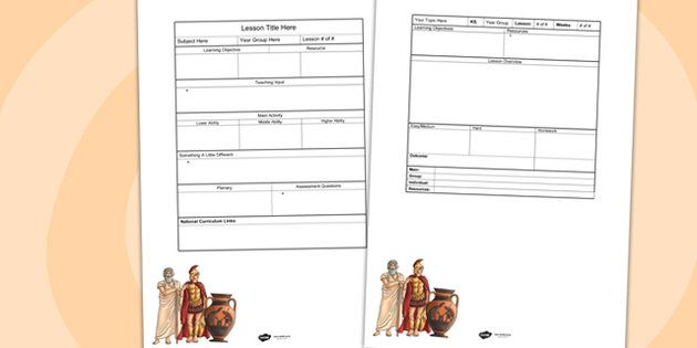 Ancient Greeks Editable Individual Lesson Plan Template Year 5