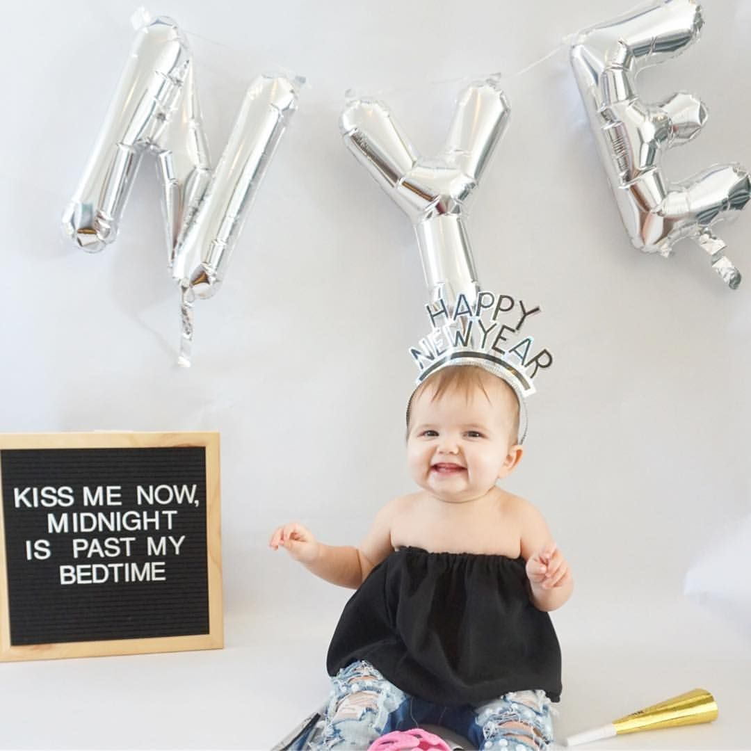 New Years baby photo. Baby letterboard. New Year's Eve
