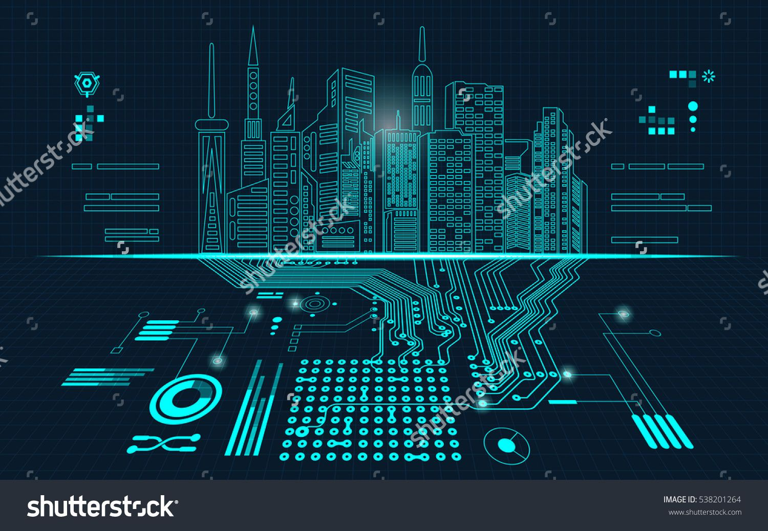 abstract technology background; digital building in a