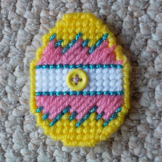 Plastic canvas yellow easter egg magnet gift by readysetsewbyevie this listing is for a treat bag filled with fun easter gifts included is a bright yellow and multicolored easter egg magnet sewn with a negle Images