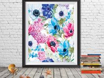 Floral wall art floral printable flower wreath art