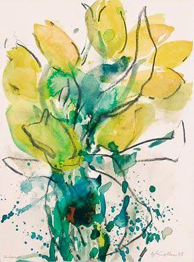 Oskar Koller Aquarell Mit Kreide Tulpen Blumen Malen