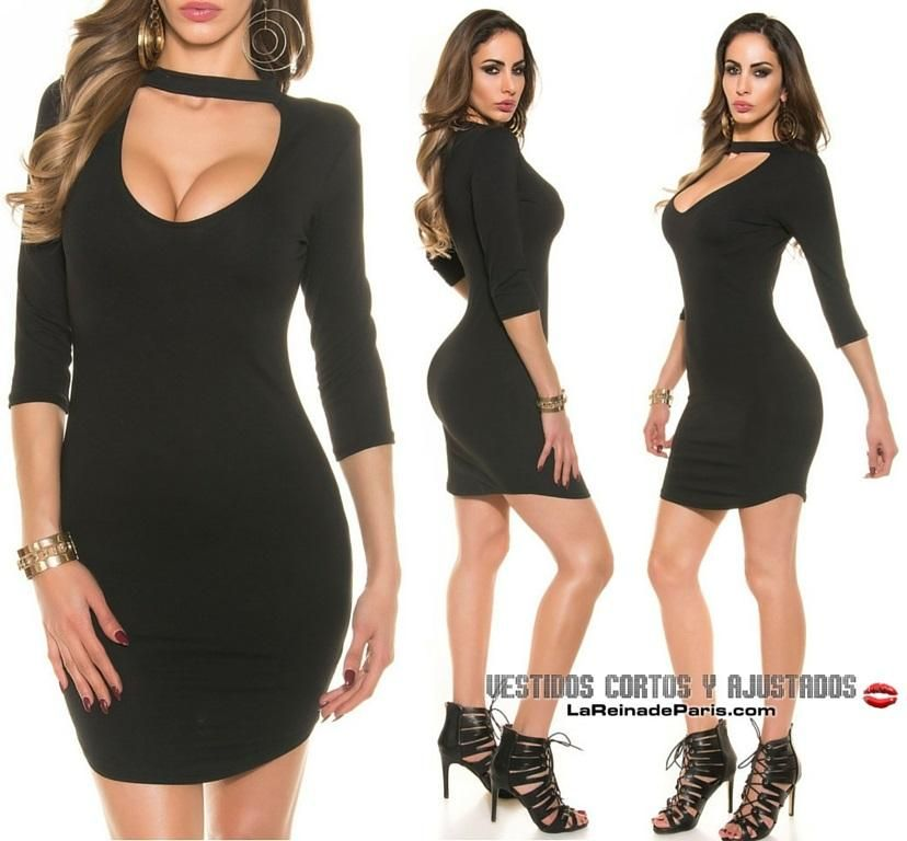 aafaeebe5a Vestido negro ajustado para lucir cuerpo