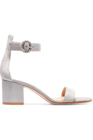 Grey block heel sandals, Suede sandals