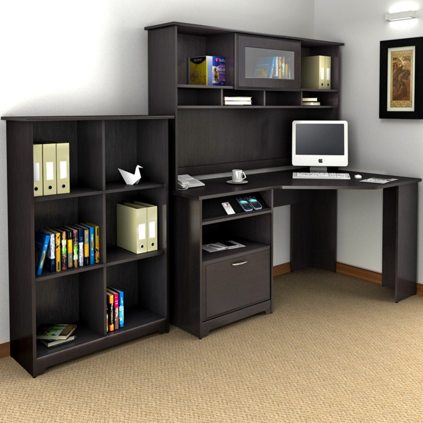 Bush cabot corner desk with hutch and bookcase bhi products