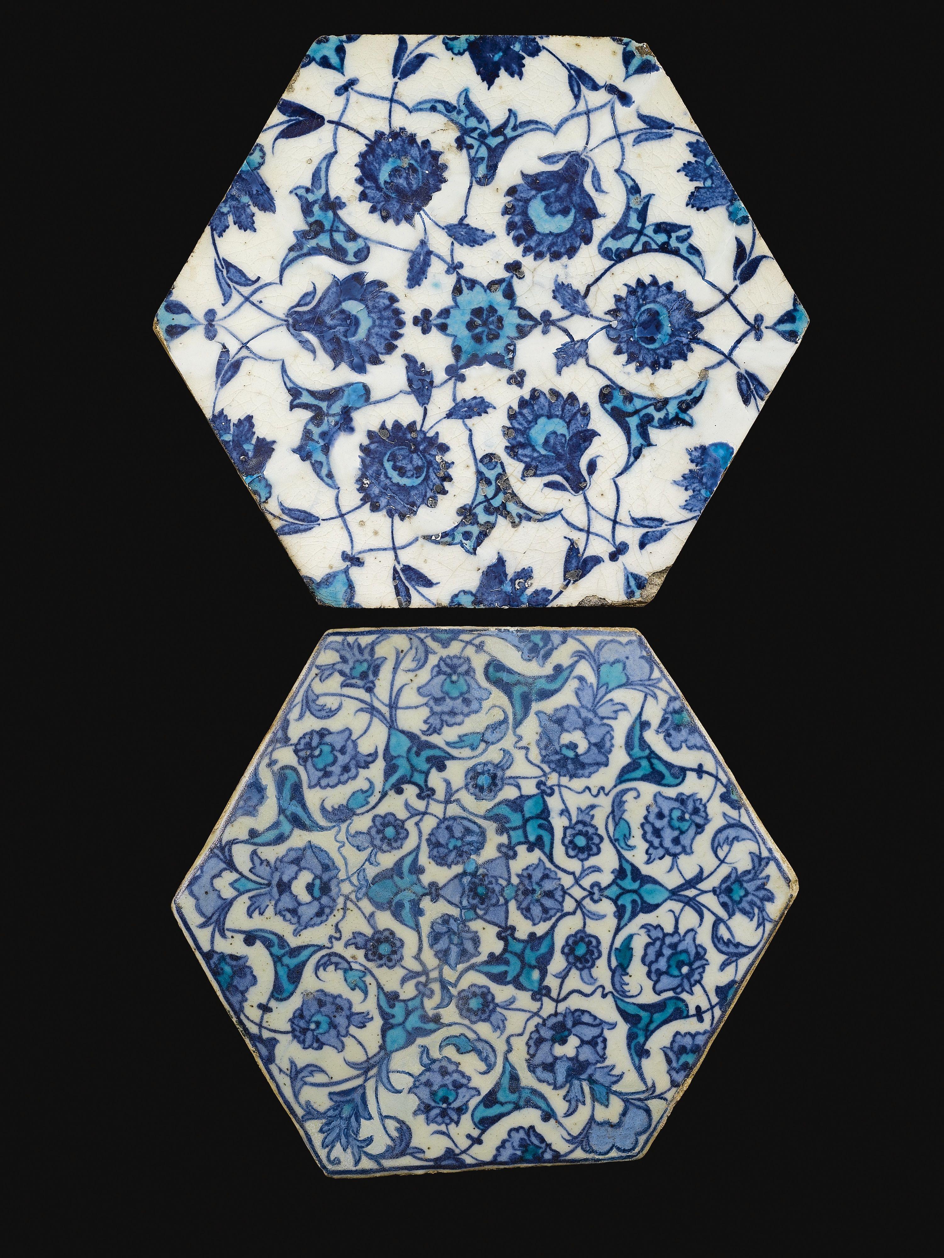 Iznik Hexagonal Tiles First Half Of 16th Century Turkey