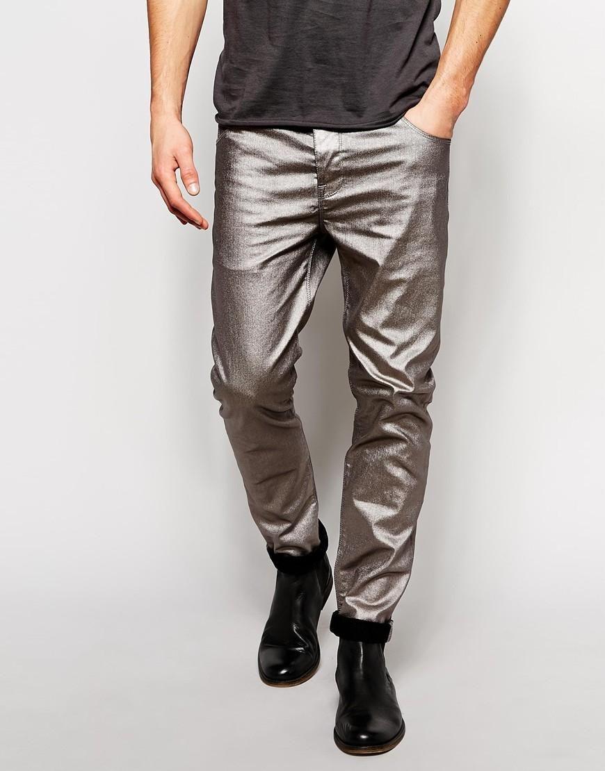 ASOS   ASOS Skinny Jeans In Silver at ASOS