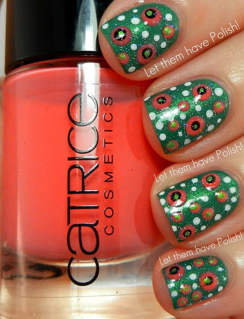 Let them have Polish!: Dotty Nail Art or Deconstructed Watermelon Nail art