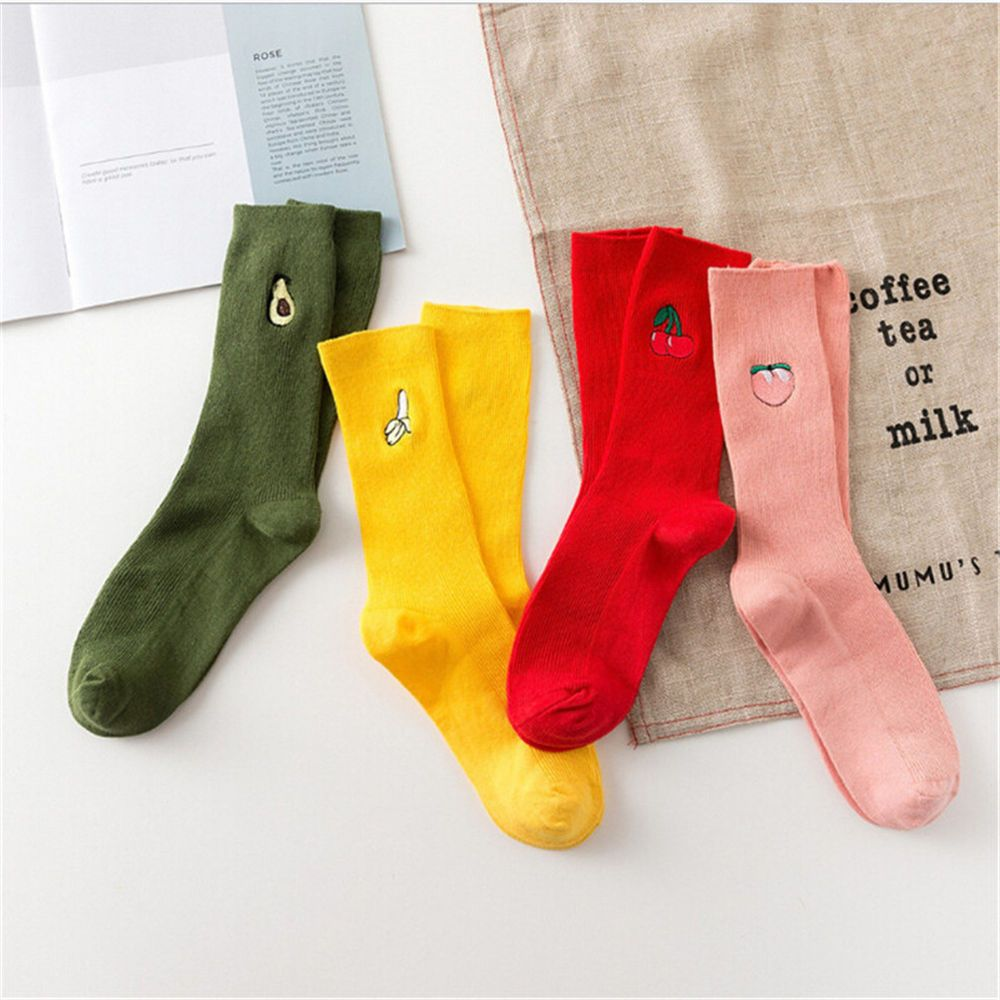 Fashion Casual Long Cartoon Warm Cotton High Socks 3D Fruit Embroidery Hosiery