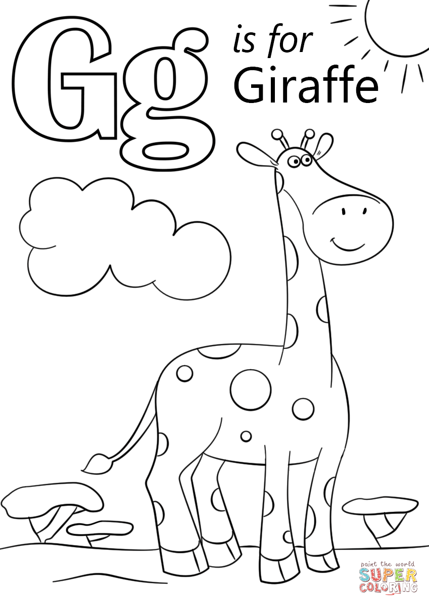 Letter G Is For Giraffe Super Coloring Giraffe Coloring Pages