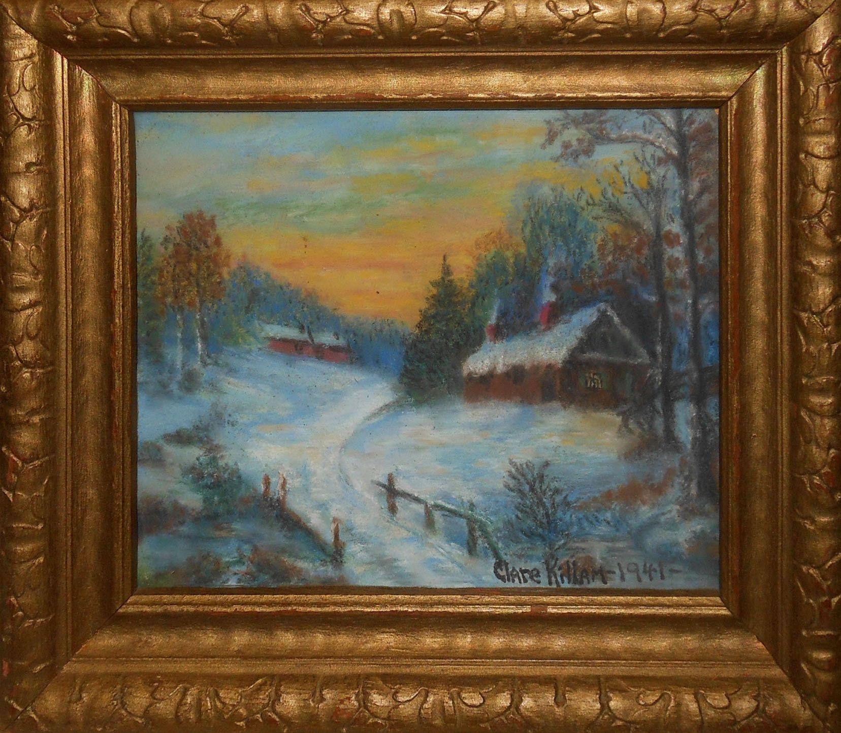 Vintage Miniature Pastel Painting Winter Cabins In Winter Signed Clara Killiam Painting Pastel Painting Vintage Oil Painting