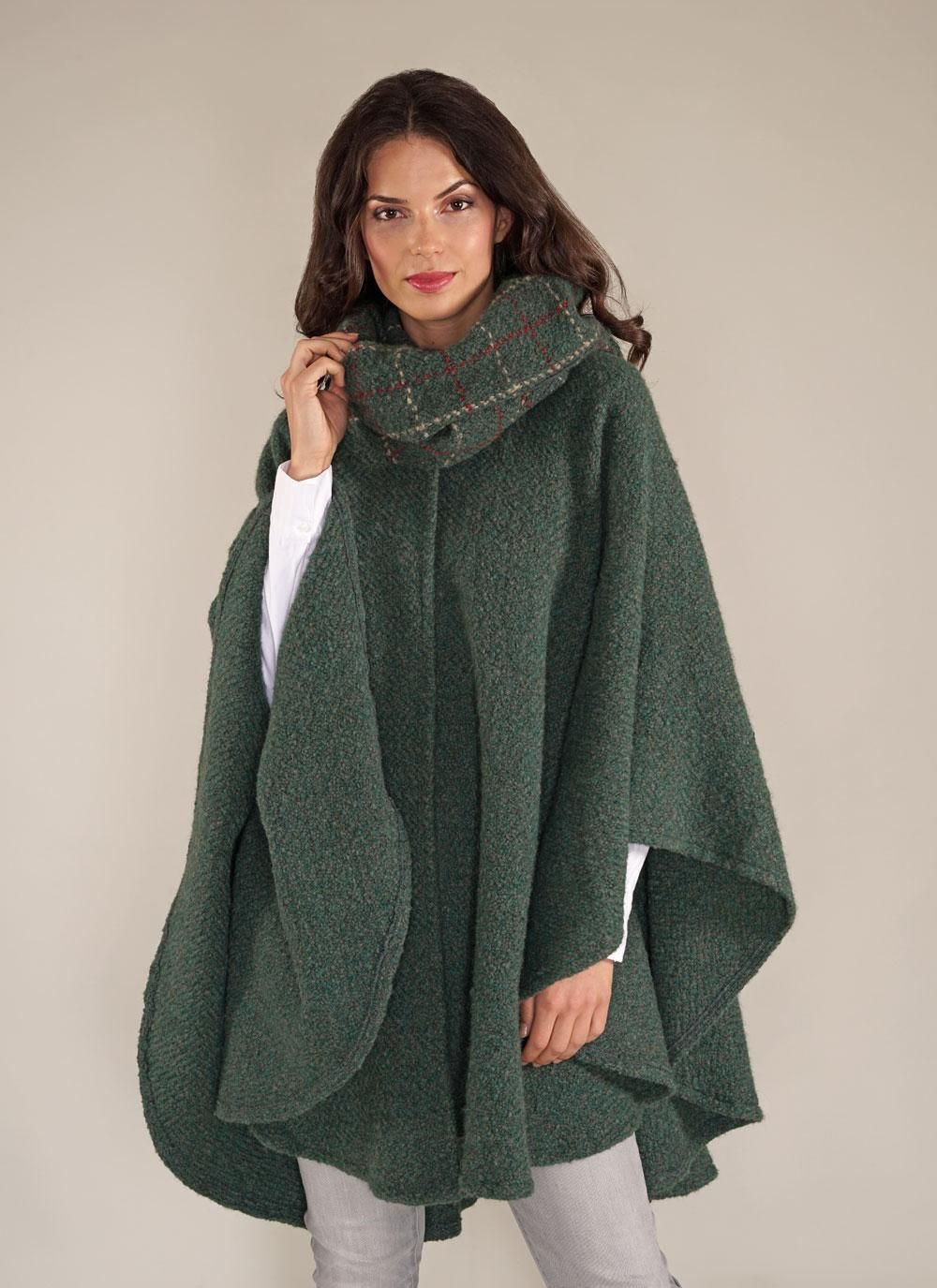 Ciara Cape Loden Green: Part of our ladies capes and shawls