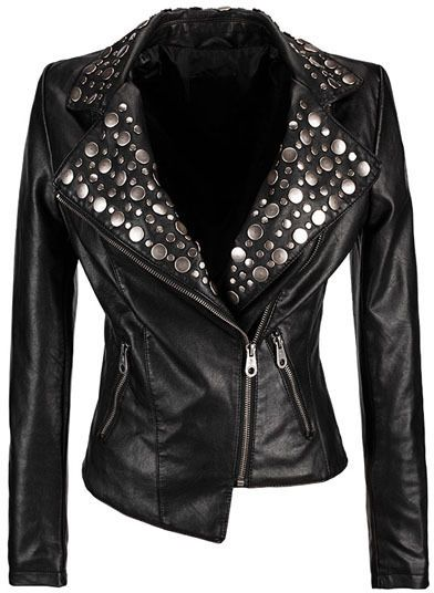 $119, Black Studded Leather Biker Jacket: ChicNova Studded Leather Biker Jacket. Sold by ChicNova. Click for more info: http://lookastic.com/women/shop_items/76569/redirect
