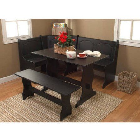 Free Shippingbuy Breakfast Nook 3Piece Corner Dining Set Black Fascinating Dining Room Tables Walmart 2018