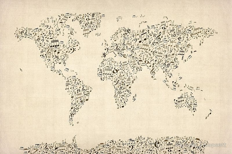 Music Notes Map of the World by Michael Tompsett