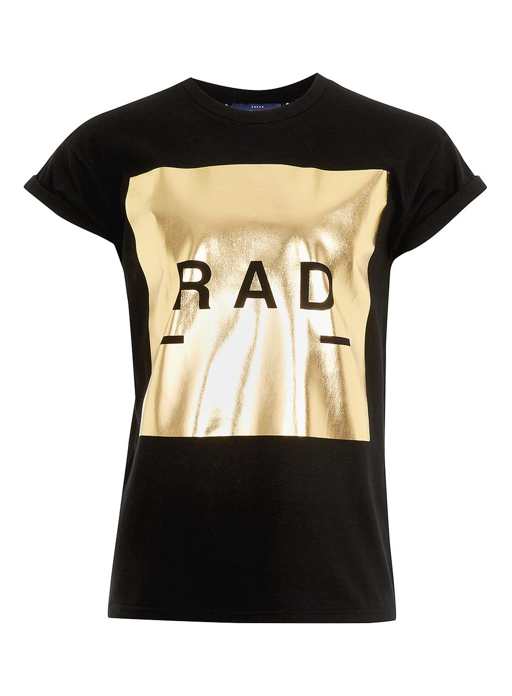 Black Rad Gold Foil Print T Shirt Menswear For You Gold T
