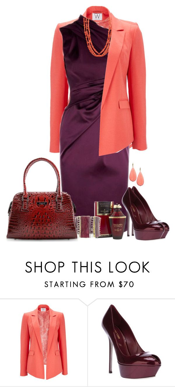 """""""Coral e Borgonha"""" by sil-engler ❤ liked on Polyvore featuring Wallis, Karen Millen, David Aubrey, Sergio Rossi and Guerlain"""