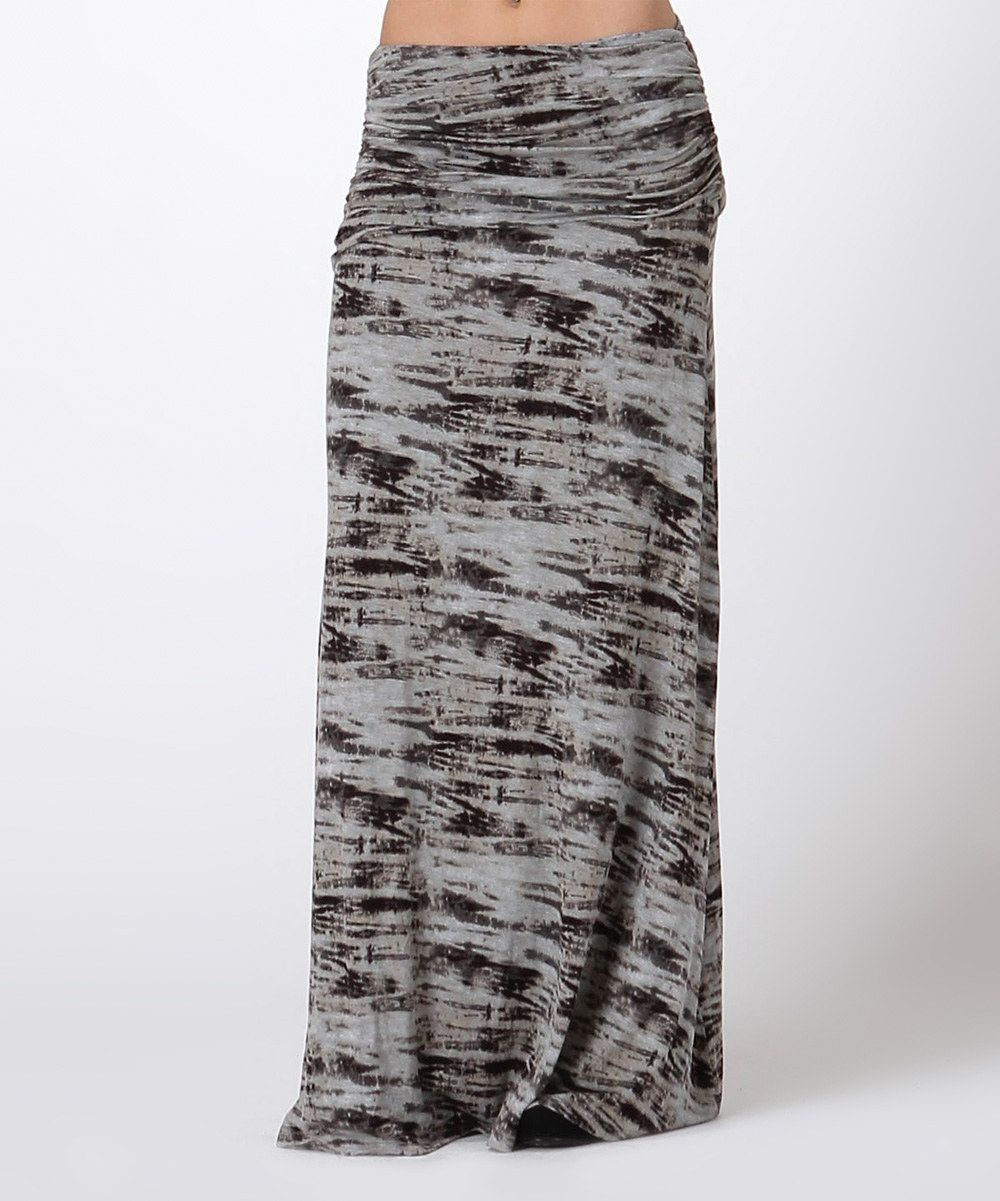 Another great find on #zulily! Black & Gray Tie-Dye Maxi Skirt by Bellino #zulilyfinds
